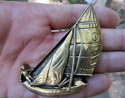 Vtg SAILBOAT Belt Buckle 1979 Nautical Sailing Baron Maritime 3D Brass RARE VG+
