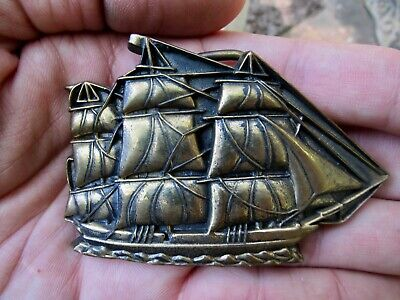Vtg FRIGATE Belt Buckle 1978 Nautical SHIP Baron Maritime 3D Brass RARE VG+
