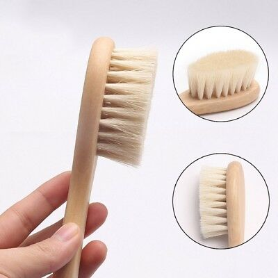 Newborn Baby Wooden Brush Comb With Soft Goats Hair Bristles Head Clean Massager