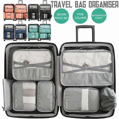 7Pc Packing Cubes Travel Pouches Luggage Organiser Clothes Suitcase Storage Bag