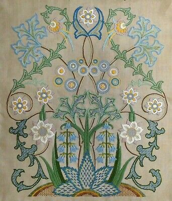 Art Nouveau Hand Embroidered Picture Panel Jacobean Cottage Garden Flowers