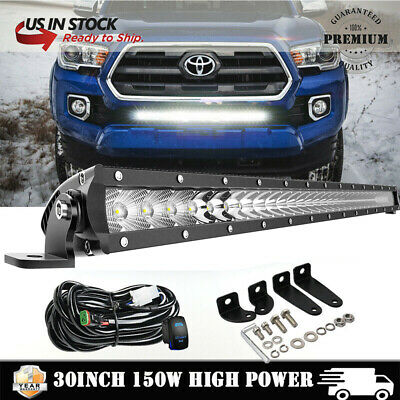 """150W 30"""" INCH Lower Bumper LED Light Bar + Wirings Kit For 2015-up Toyota Tacoma"""