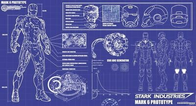 IRONMAN STARK INDUSTRIES THE ARMORY BLUEPRINT POSTER A MULTIPLE SIZES