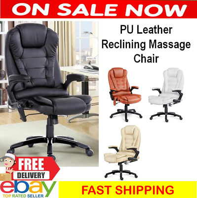 Recliner Massage Gaming Racing Executive Office Computer Chair 8 Point Leather