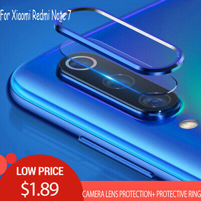 For Xiaomi Redmi Note 7 Camera Lens Screen Protector Tempered Glass + Metal Ring