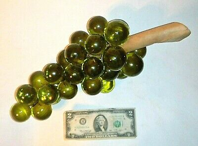 Vintage Retro Mid-Century Green Lucite Acrylic Grapes w/Driftwood Stem