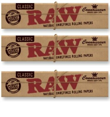 3 Packs Authentic Raw Connoisseur King Size Rolling Papers +Tips *USA Shipper*