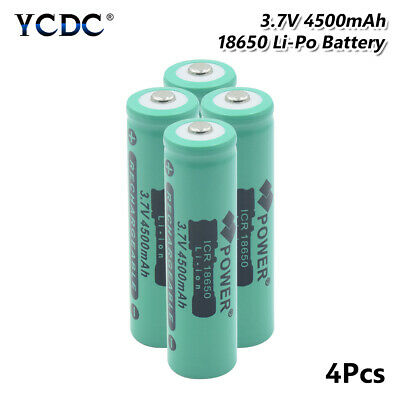 4x High Capacity 4500mAh 3.7V 18650 Battery Rechargeable For Torch Radio Toy E1