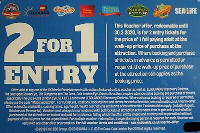 2 for 1 Merlin Voucher Alton Towers, Legoland, Thorpe Park, Chessington etc..