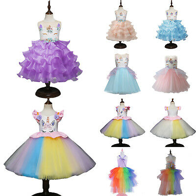 Kids Girls Cartoon Unicorn Princess Fancy Costume Tulle Tutu Dress Cosplay Party