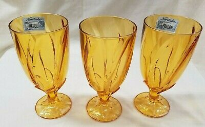 Three (3) Noritake Breeze Amber Iced Tea Goblets Glasses HTF Color NWT