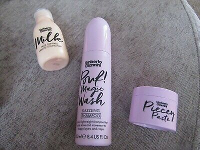Umberto Giannini milk frizz control 125ml,piecey paste 75ml,pouf! magic wash-250