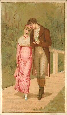 c1882 Victorian Trade Card; Young Lovers Walking, Great America Tea Import Co SF