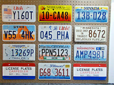 10-Craft Mixed State License Plate's. #-3955. Shabby Chic.used. Craft Or Better.