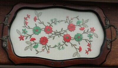 Edwardian Vintage Breakfast Tray with emroidered floral pattern