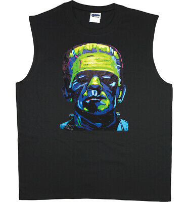 Men's Sleeveless Muscle Tee Shirt Tank Top Funny Monster Decal