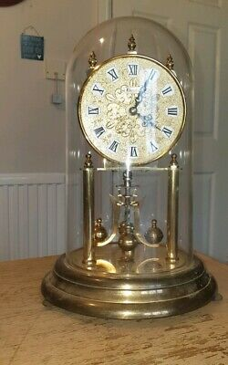"Large Vintage Domed Kundo Gold Anniversary Clock  10"" Tall Working"