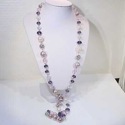 """Purple glass faceted crystal beads faux pearls rhinestone long necklace 35""""-37"""""""