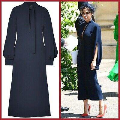 cccab5a19e83 Victoria Beckham Navy Cutout Crepe Midi Dress UK10 S/O ASO Royal Wedding  £1495