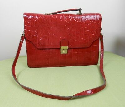 Vintage 80's Lipstick Red Leather Embossed Faux Alligator Briefcase Purse