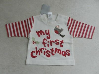 BNWT Next Baby Boys Cream & Red My First Christmas New Baby 7.8lbs