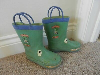Boys Green Dinosaur Club Welly Boots Wellies Wellington with handles Size 8