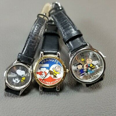 Lot of 3 ARMITRON Peanuts Snoopy Watches #900/243P #900/251 #900/256