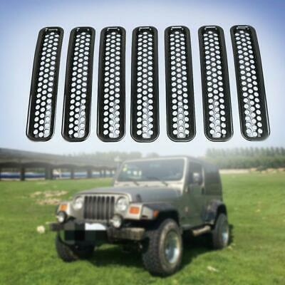 7pcs Front Grille Cover Insert Mesh Grill Shell For 1997-06 Jeep Wrangler TJ 03
