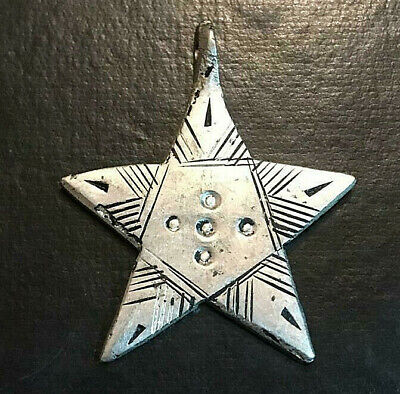 Ancient VIKING SILVER STAR AMULET PENDANT ARTIFACT Magnificent