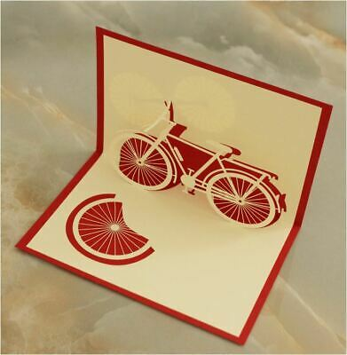 Bicycle Pop Up 3D Handmade Greeting Card with Envelope - Red -