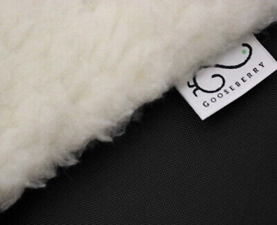 PRAM SEAT LINER GOOSEBERRY Natural Lambs Wool Universal Machine Washable Black