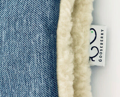 PRAM SEAT LINER GOOSEBERRY Natural Lambs Wool Universal Blue Jeans