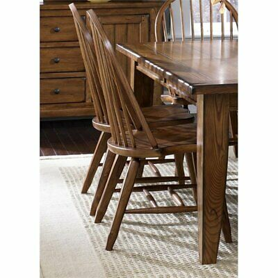Liberty Furniture Treasures Bow Back Dining Side Chair in Rustic Oak