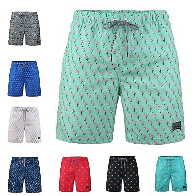 Boy's Print Fast Dry Mesh Liner Pocket Swim Trunks Beach Vacation Outdoor Shorts