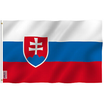 ANLEY Fly Breeze 3x5 Ft Slovakia Flag Canvas Header Double Stitched  Polyester