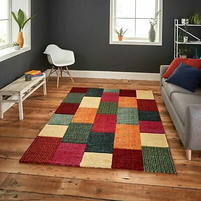 Small Large Soft Multi Coloured Blocks Patchwork Thick Pile Modern Brooklyn Rugs