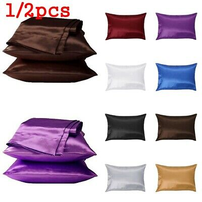 2 pcs Pure Mulberry Silk Pillow Case Pillowcase Housewife Queen Standard