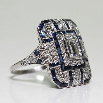 Antique Art Deco Large 925 Jewelry Sterling Silver  Sapphire & Diamond Ring