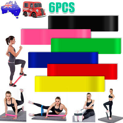6PCS Stretch Rubber Resistance Loop Bands Gym Yoga For Fitness Exercise Workout