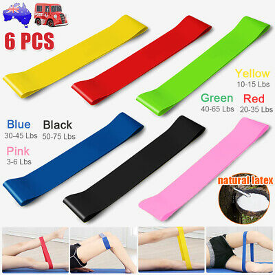 6x Resistance Stretch Elastic Loop Band Strap Gym Yoga Fitness Home Exercise AU