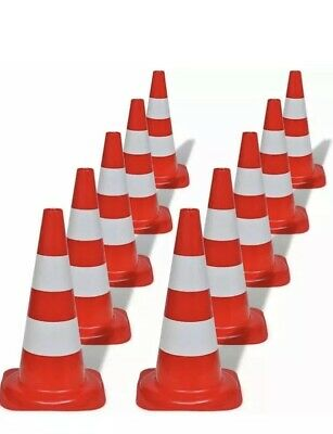 10 Pcs 19'' Red Safety Traffic Cones 50cm Reflective Collar Parking Emergency UK