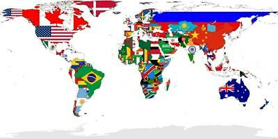 186002 COUNTRY FLAG WORLD MAP COUNTRIES GLOBE MAPS WOW Wall Print Poster AU