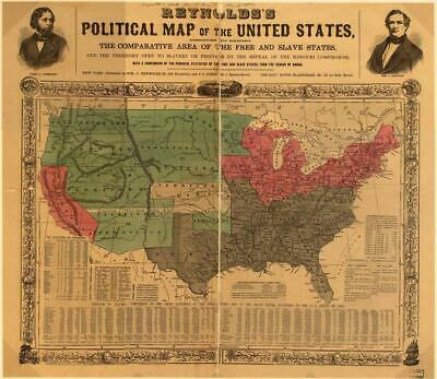 186211 POLITICAL MAP OF THE USA FREE SLAVE STATES Wall Print Poster AU