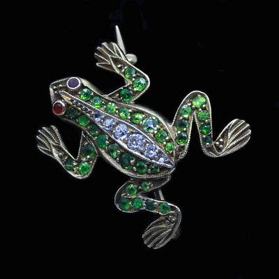 Victorian Brooch Frog 18k Gold Demantoid Garnets Diamonds French Nouveau (6431)