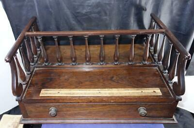 Rare Antique Mahogany & Rosewood Desk Box w/ Railing !!