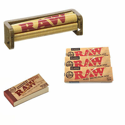 RAW - 3x Packs Classic 1 1/4 Rolling Papers + 50 Perforated TIPS + 79MM Roller