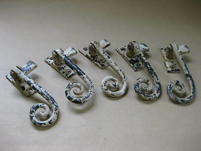 5 Vintage or Antique Window Casement Fasteners ~ Wrought Iron Monkey Tail