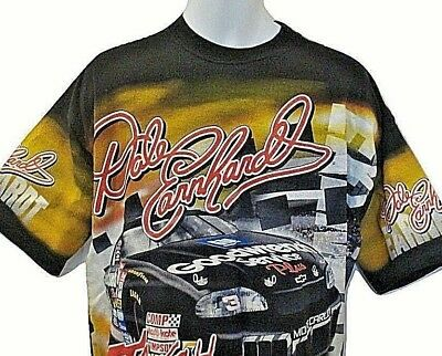 1103f31882d0 Dale Earnhardt Vintage Nascar #3 Lg All Over Print USA Chase Race Car T-