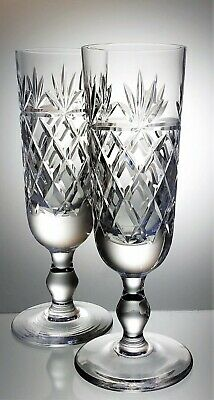 Pair of Unsigned Lead Crystal Cut Glass Champagne  Prosecco Glasses - 160 ml