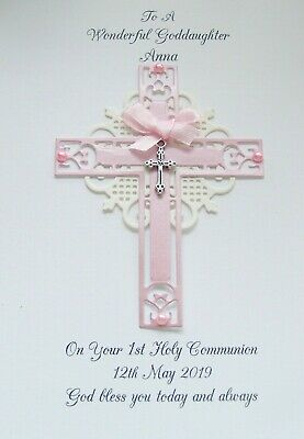 Personalised Baptism, Christening, Holy Communion, Confirmation pink/white Card